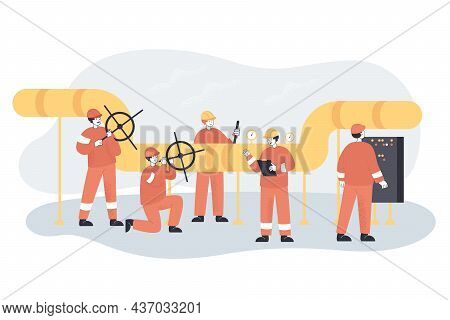 People In Uniform Carrying Out Control And Checking Leaks And Pressure. Oil Or Gas Pipeline Service