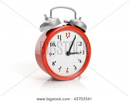 3D Illustration: Large Red Clock Isolated