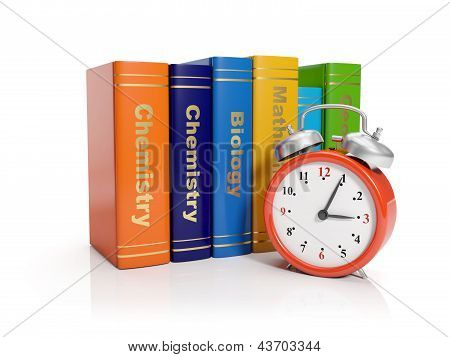3D Illustration: Alarm Clock And Books. Time To Start Learning