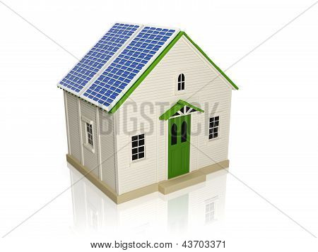 3D Illustration: Obtaining Energy From Solar Panels. House With Solar Panels On The Roof