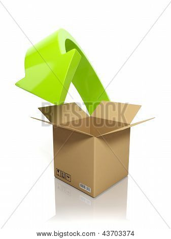 3D Illustration: Downloading Content. A Cardboard Box And An Arrow On A White Background
