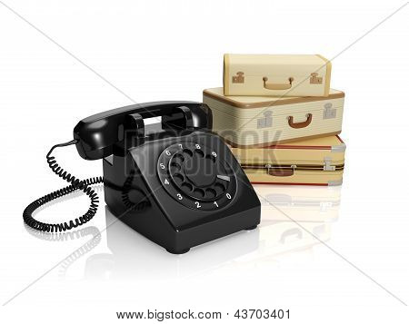 3? Illustration: The Company On Tourism Or Freight Transportation. A Retro Phone With Luggage