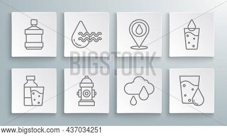 Set Line Bottle Of Water With Glass, Recycle Clean Aqua, Fire Hydrant, Cloud Rain, Glass, Water Drop