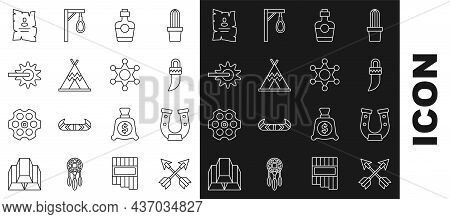 Set Line Crossed Arrows, Horseshoe, Tooth, Tequila Bottle, Indian Teepee Wigwam, Spur, Wanted Wester