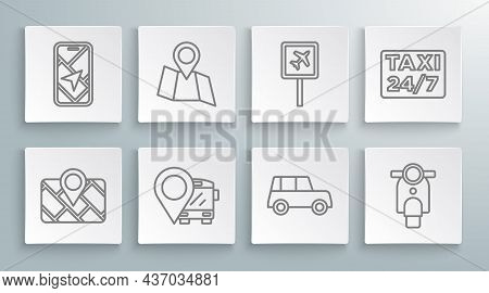 Set Line Gps Device With Map, Folded Location, Location Bus, Car, Scooter, Airport, Taxi And City Na