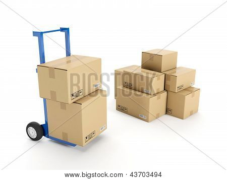 3D Illustration: Delivery Of Possession Of The Goods. Trolley With A Group Of Cardboard Boxes On A W