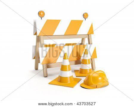 3D Illustration: Repair Roads, Replacing The Road. Signs