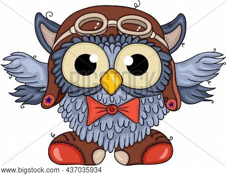 Scalable Vectorial Representing A Funny Aviator Owl With Pilot Hat, Element For Design, Illustration