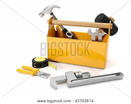 3D Illustration: Repair Services. Tool Box On A White Background