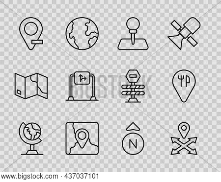Set Line Earth Globe, Location, Push Pin, Folded Map With Location Marker, Road Traffic Sign, Compas