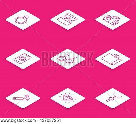 Set Line Diamond Engagement Ring, Box, Gem Stone, Jewelry Online Shopping, Earrings, Shopping Bag Je