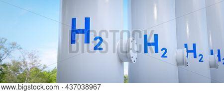 A modern hydrogen tank for renewable energy. 3D illustration