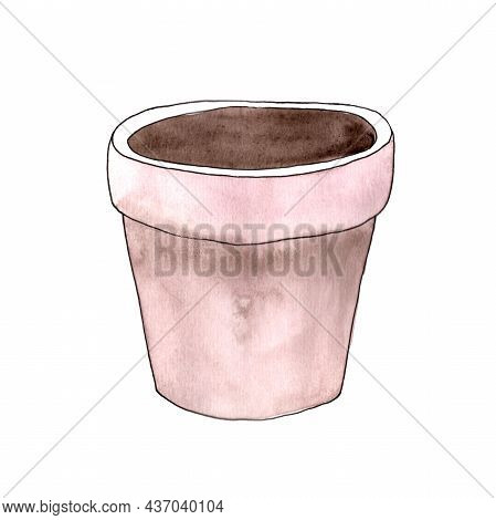Garden Pot Isolated On White Background. Round Pot. Flower Pot Color Pink. Watercolor Illustrations