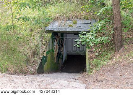Hel, Poland - July 20, 2021: Entrance To Historical Bunker At Hel Peninsula.