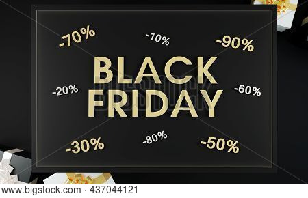 Black Friday Sale Promotional Banner On Black Background And Gold Sign With Present Boxes. Black Fri