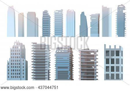 Ruined City Set. Apocalypse Scene. Illustration Isolated On White Background. Armageddon Death Of Ci
