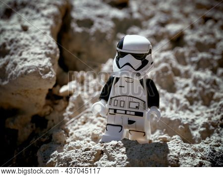 Chernihiv, Ukraine, July 13, 2021. A Minifigure Of An Imperial Stormtrooper From Star Wars Against A