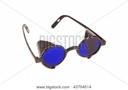 Old Special Protective Eyeglass Isolated On White