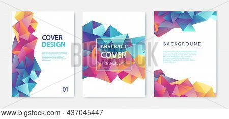 Set Of Vector Bright Abstract Polygonal Contemporary Templates, Posters, Placards, Brochures, Banner