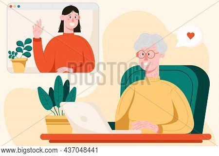 Happy Grandma With Laptop Talking With Her Daughter Thru The Video Chat, Female Characters In A Flat