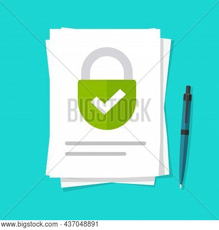 Confidential Private Locked Access To Information Files Vector Or Secure Permission Documents Vector