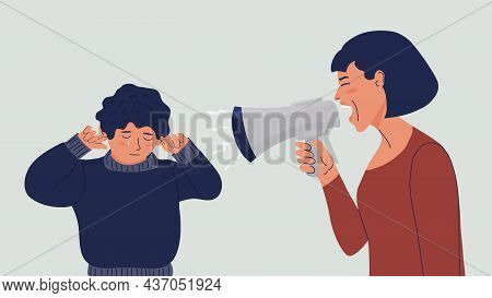 Woman Shouts At The Child Into A Megaphone. The Boy Covers His Ears With His Hands, Cries. Domestic
