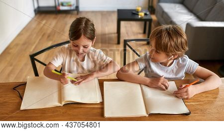 Wide Shot Top View Of Smiling Small Caucasian Boy Girl Kids Sit At Table Study Learn At Home Togethe