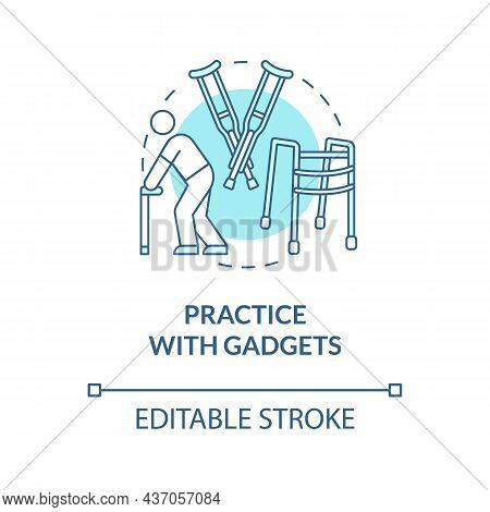 Practice With Gadgets Blue Concept Icon. Assistive Devices For Walking Aid. Rehab Euipment. Physioth
