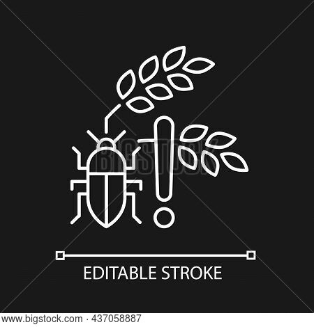 Pests Danger Linear Icon For Dark Theme. Insects And Diseases Damage Harvest. Hunger Reason. Thin Li