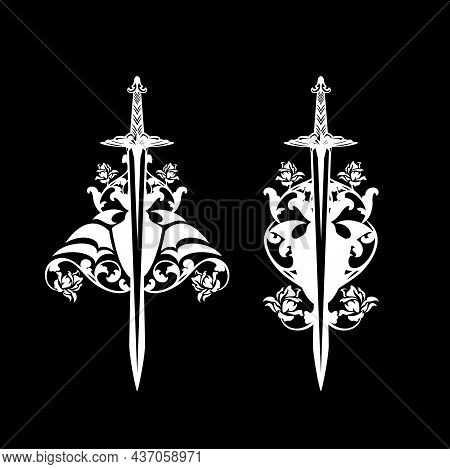 Medieval Knight Sword And Heraldic Rose Flowers Black And White Vector Calligraphic Silhouette Desig