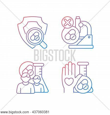 Clinical Research Facility Gradient Linear Vector Icons Set. Failed Project. Checking Safety Of New