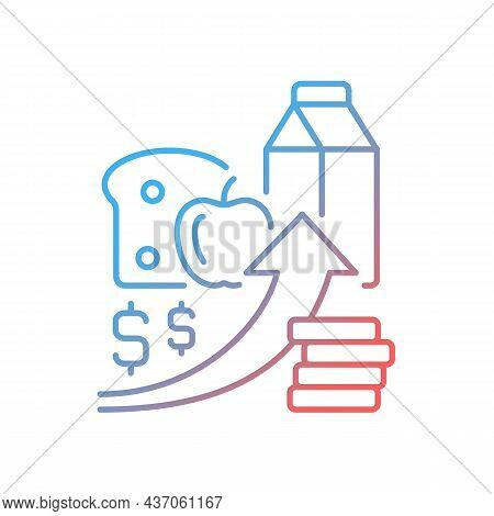 Increasing Food Prices Gradient Linear Vector Icon. Price Inflation. Economical Issue. Food Insecuri