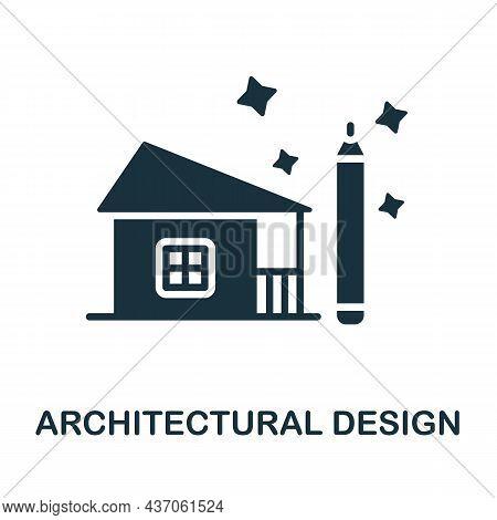 Architectural Design Icon. Monochrome Sign From Graphic Design Collection. Creative Architectural De