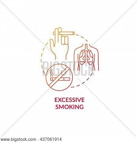Excessive Smoking Red Gradient Concept Icon. Pneumonia Risk Factor Abstract Idea Thin Line Illustrat