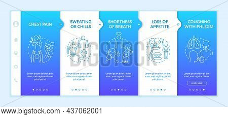 Pulmonary Inflammation Symptoms Onboarding Vector Template. Responsive Mobile Website With Icons. We