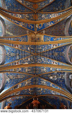 Albi, France - September 29, 2021: Vaulted Ceiling Paintings Of Albi Cathedral In France. The Cathed