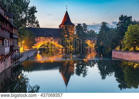 Schlayerturm And Bridge Over Pegnitz River And Old Town Of Nuremberg, Eastern Bavaria, Germany