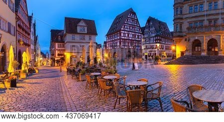 Night Panorama Of Market Square In Medieval Old Town Of Rothenburg Ob Der Tauber, Bavaria, Southern