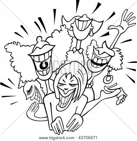 Joyful Group Of Women Cartoon