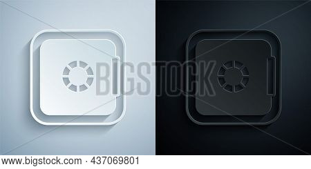 Paper Cut Safe Icon Isolated On Grey And Black Background. The Door Safe A Bank Vault With A Combina