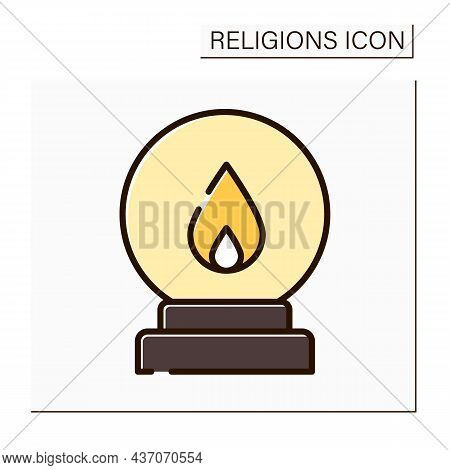 Spiritualism Color Icon.belief That Spirits Of Dead Exist. Afterlife. Spiritualistic Session. Spirit
