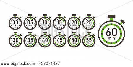 Cooking Time, Set Of Time Counter Icons From 5 Minutes To 1 Hour. Stopwatch Timer Clock Vector Illus