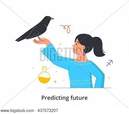Predicting Future Concept. Female Fortune Teller Holds Black Raven In Her Hands And Conducts Magical
