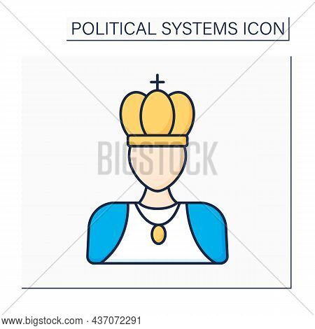 Monarchy Color Icon. Supreme Authority Vested In Monarch. Individual Ruler Achieve Position Through