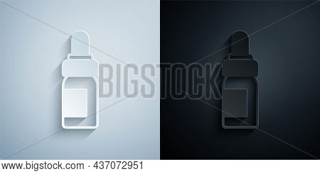 Paper Cut Essential Oil Bottle Icon Isolated On Grey And Black Background. Organic Aromatherapy Esse