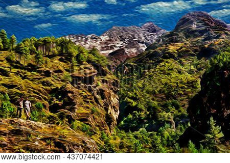People Posing In Front Of Tall Mountains And Green Valleys At The Himalayas. The World Largest And H