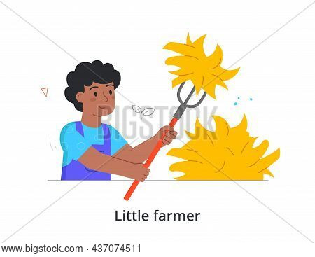 Boy Raking Leaves Concept. Child Holds Rake In His Hands And Removes Dried Plants From Garden Plot.