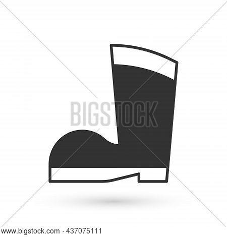 Grey Waterproof Rubber Boot Icon Isolated On White Background. Gumboots For Rainy Weather, Fishing,