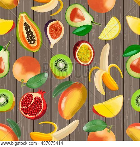 Fruit On A Wooden Background.tropical Fruits On Wooden Background In Color Vector Pattern.