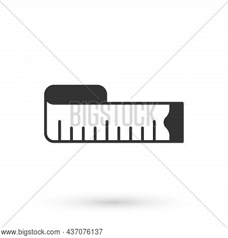 Grey Tape Measure Icon Isolated On White Background. Measuring Tape. Vector